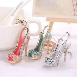 Crystal high heel shoe keychain keyring