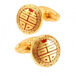 Red & gold round cufflinks