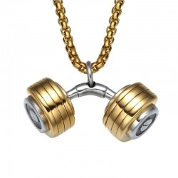 Fitness barbell dumbbell pendant necklace