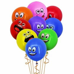 Big eyes smiley latex balloons 10 pcs