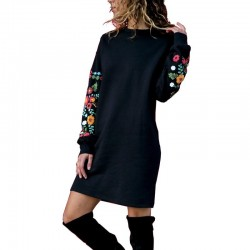3D printed sleeves warm loose mini dress