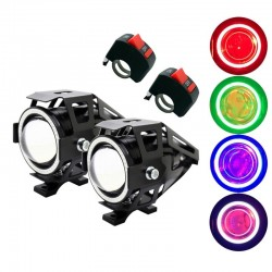 U7 Angel Eye motorcycle LED headlight with switch - fog lamp - CREE chip 3000LM - 2 pieces