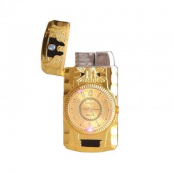 Butane jet cigarette lighter - quartz clock - torch