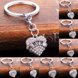Mom & Daughter & Best Friend crystal heart - keychain