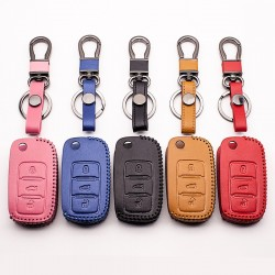 Car key leather cover for Volkswagen Polo B5, B6, Golf 4, 5, 6, Jetta, MK6, Tiguan
