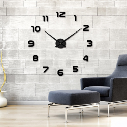 3D wall clock - acrylic mirror sticker