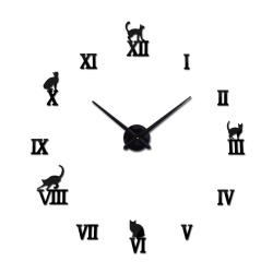 3D decorative wall quartz clock with roman numbers