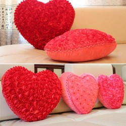 Heart shaped pillow with roses