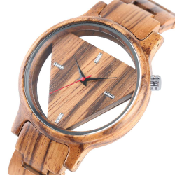Geometric triangle - wooden Quartz watch - unisex