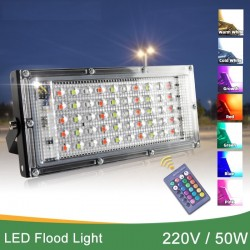 220V 50W - LED floodlight - IP65 waterproof - outdoor lamp with reflector and RGB remote